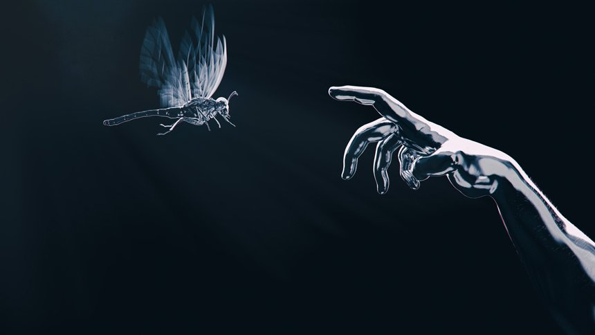 silver arm touching silver insect